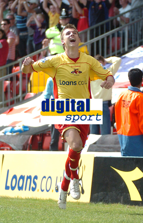 Photo: Tony Oudot.<br />Watford v Portsmouth. The Barclays Premiership. 09/04/2007.<br />Tamas Priskin celebrates his goal and Watford's third