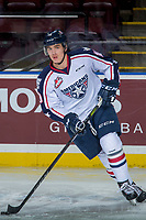 KELOWNA, CANADA - OCTOBER 27: Dylan Coghlan #10 of the Tri-City Americans warms up against the Kelowna Rockets on October 27, 2017 at Prospera Place in Kelowna, British Columbia, Canada.  (Photo by Marissa Baecker/Shoot the Breeze)  *** Local Caption ***