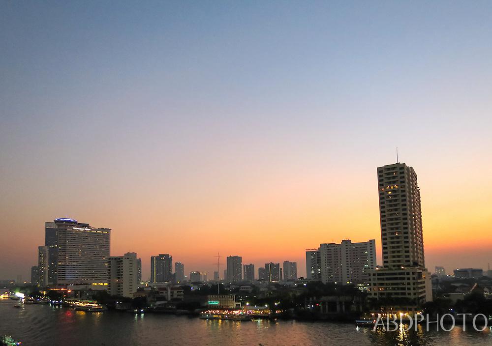 Sunset Bangkok Chao Phraya River