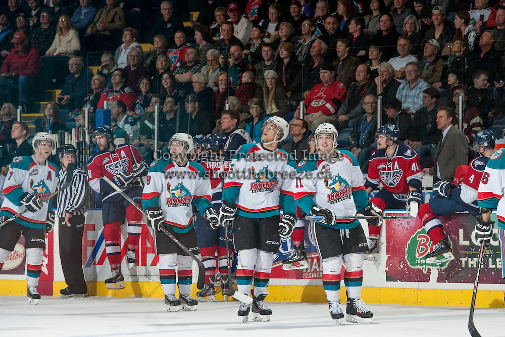 KELOWNA, CANADA - MARCH 8: The Kelowna Rockets watch the goal replay as they celebrate a goal against the Tri City Americans during second period on March 8, 2014 at Prospera Place in Kelowna, British Columbia, Canada.   (Photo by Marissa Baecker/Getty Images)  *** Local Caption ***