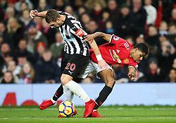 Marcus Rashford of Manchester United takes on Florian Lejeune of Newcastle United - Mandatory by-line: Matt McNulty/JMP - 18/11/2017 - FOOTBALL - Old Trafford - Manchester, England - Manchester United v Newcastle United - Premier League