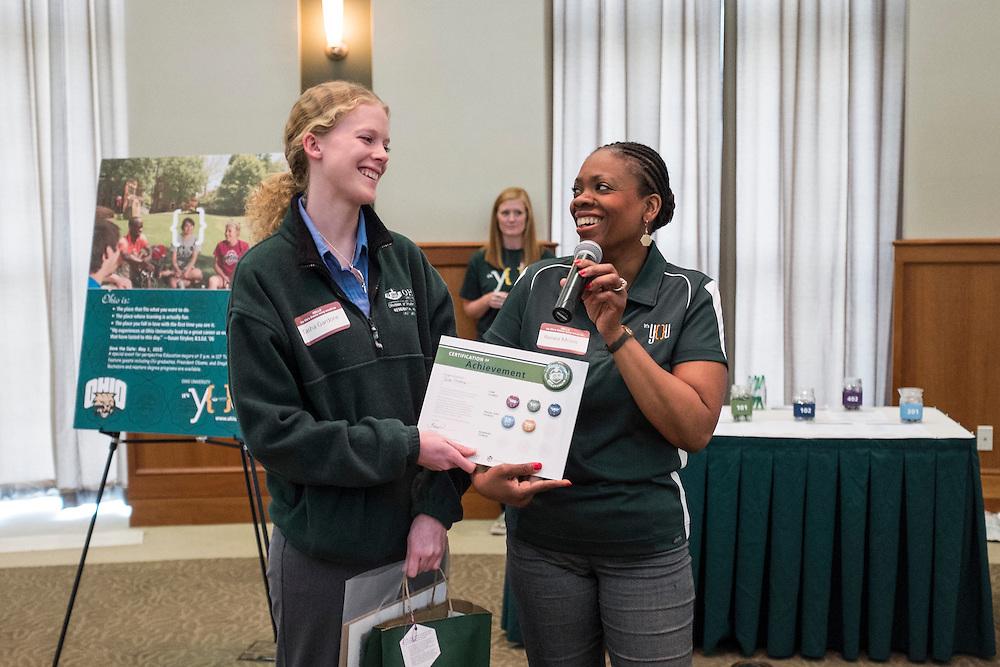 Ohio University campus communicators gathered Wednesday, May 13, 2015 in Walter Hall Rotunda for the first ever CCN Expo.  Photo by Ohio University  /  Rob Hardin