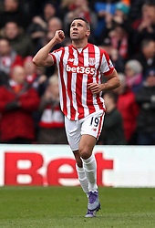 Jonathan Walters of Stoke City celebrates opening the scoring against Watford - Mandatory byline: Robbie Stephenson/JMP - 19/03/2016 - FOOTBALL - Vicarage Road - Watford, England - Crystal Palace v Leicester City - Barclays Premier League