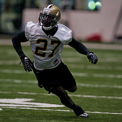 18 June 2009: Saints rookie first round draft selection, cornerback Malcom Jenkins (27) participates in drills during the New Orleans Saints Organized Team Activities held at the team's indoor practice facility in Metairie, Louisiana.
