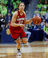 SOUTH BEND, IN - FEBRUARY 11: Jude Schimmel #22 of the Louisville Cardinals dribbles the ball up court during the game against the Notre Dame Fighting Irish at Purcel Pavilion on February 11, 2013 in South Bend, Indiana. Notre Dame defeated Louisville 93-64. (Photo by Michael Hickey/Getty Images) *** Local Caption *** Jude Schimmel