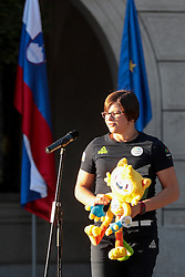Tina Trstenjak during reception of Slovenian Olympic Team at Vila Podroznik when they came back from Rio de Janeiro after Summer Olympic games 2016, on August 26, 2016 in Ljubljana, Slovenia. Photo by Matic Klansek Velej / Sportida
