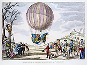 Ascent made by J.A. Charles (1745-1822) in a hydrogen balloon in the plain of Nesle, l December 1783. From Gaston Tissandier 'Histoire des Ballons', Paris, 1887.