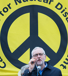 London, February 27th 2016. Labour Party Leader Jeremy Corbyn address the thousands of protesters in Trafalgar Square at  CND's rally opposing the UK's Trident nuclear weapons programme. <br /> &copy;Paul Davey<br /> FOR LICENCING CONTACT: Paul Davey +44 (0) 7966 016 296 paul@pauldaveycreative.co.uk