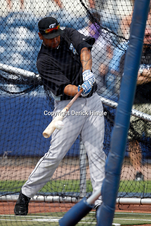 March 8, 2011; Port Charlotte, FL, USA; Toronto Blue Jays right fielder Juan Rivera (20) takes batting practice before a spring training exhibition game against the Tampa Bay Rays at Charlotte Sports Park.   Mandatory Credit: Derick E. Hingle