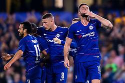 Olivier Giroud of Chelsea celebrates scoring a goal to make it 3-0 - Mandatory by-line: Robbie Stephenson/JMP - 18/04/2019 - FOOTBALL - Stamford Bridge - London, England - Chelsea v Slavia Prague - UEFA Europa League Quarter Final 2nd Leg