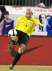 United States goalkeeper Tim Howard (1) punts the ball down field in action against Mexico.  The United States men's soccer team defeated the Mexican national team 2-0 in CONCACAF final group qualifying for the 2010 World Cup at Columbus Crew Stadium in Columbus, Ohio on February 11, 2009.