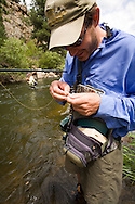 A flyfishing couple enjoy the warm summer while fishing on the Big Thompson River near estes Park Colorado.