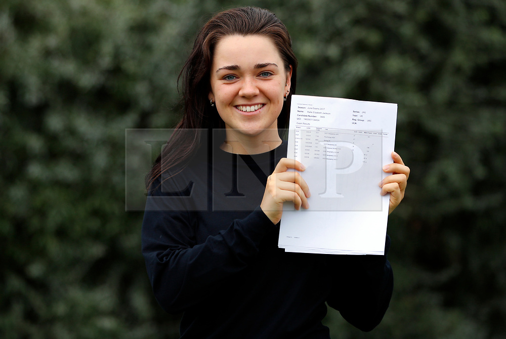 © Licensed to London News Pictures. 17/08/2017. LONDON, UK. <br /> ENGLAND U19 LACROSSE PLAYER RECEIVES A LEVEL RESULTS. Lady Eleanor Holles student Katie Jackson, receives 2 A*'s and 1 A in her A level results today and is going onto Exeter University to study Biological Sciences. Katie was selected to to play in the England U19 Lacrosse team against the Japan Senior Women's side at the Senior Regional tournament, and Home Internationals in Cardiff. Photo credit: LNP