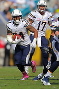 San Diego Chargers running back Ryan Mathews (24) runs upfield during an NFL game against the Jacksonville Jaguars at EverBank Field on Oct. 20, 2013 in Jacksonville, Florida. San Diego won 24-6.<br /> <br /> ©2013 Scott A. Miller