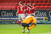Charlton Athletic midfielder Darren Pratley (15) celebrates with teammates after scoring a goal (1-0) during the EFL Sky Bet Championship match between Charlton Athletic and Hull City at The Valley, London, England on 13 December 2019.