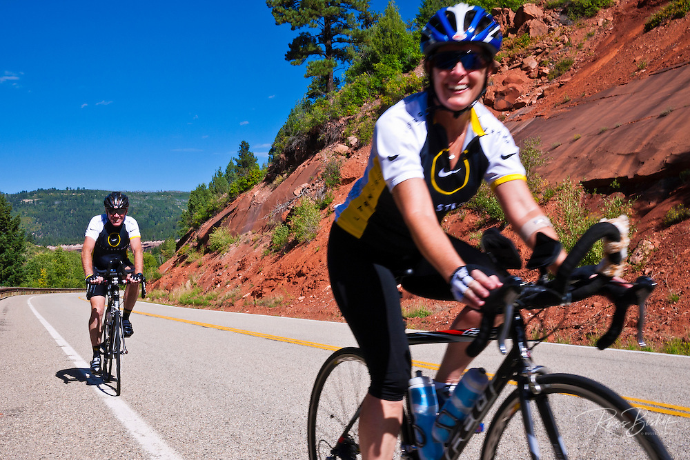 Cyclists on the San Juan Skyway (Highway 145), San Juan National Forest, Colorado