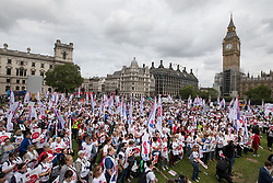 © Licensed to London News Pictures. 06/09/2017. London, UK. Nurses and campaigners gather during a demonstration in Parliament Square. The Royal College of Nursing is campaigning against the Government's one per cent cap on public sector pay. Photo credit: Peter Macdiarmid/LNP