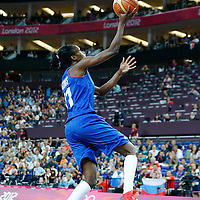 09 August 2012: France Emilie Gomis goes for the layup during the 81-64 Team France victory over Team Russia, during the women's basketball semi-finals, at the 02 Arena, in London, Great Britain.
