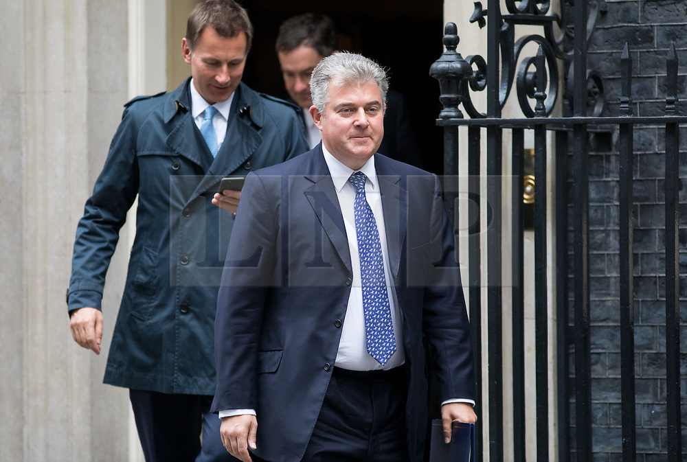 © Licensed to London News Pictures. 17/10/2017. London, UK. Minister of State for Immigration Brandon Lewis leaving No 10 Downing Street after attending a Cabinet meeting this morning. Photo credit : Tom Nicholson/LNP
