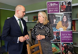 Pictured: Chief Executive Lucy Wren chats to the minister<br /> <br /> Migration minister Ben Macpherson visited social care provider Carr Gomm in Edinburgh today where he discussed with staff how proposed new UK immigration rules will hamper the recruitment of health and social care workers from outside the UK and Ireland. <br /> <br /> <br /> Ger Harley | EEm 21 March 2019