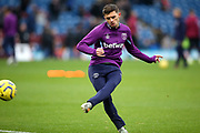 West Ham United defender Aaron Cresswell (3) warming up during the Premier League match between Burnley and West Ham United at Turf Moor, Burnley, England on 9 November 2019.