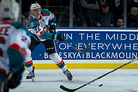 KELOWNA, CANADA - NOVEMBER 11: Braydyn Chizen #22 of the Kelowna Rockets passes the puck against the Red Deer Rebels on November 11, 2017 at Prospera Place in Kelowna, British Columbia, Canada.  (Photo by Marissa Baecker/Shoot the Breeze)  *** Local Caption ***