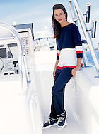 Photograph of marine inspired clothing, photographed for a internet retailer; shot on a boat in Miami.