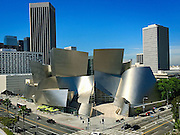 View of the Disney Hall designed by Frank Gehry in downtown LA.