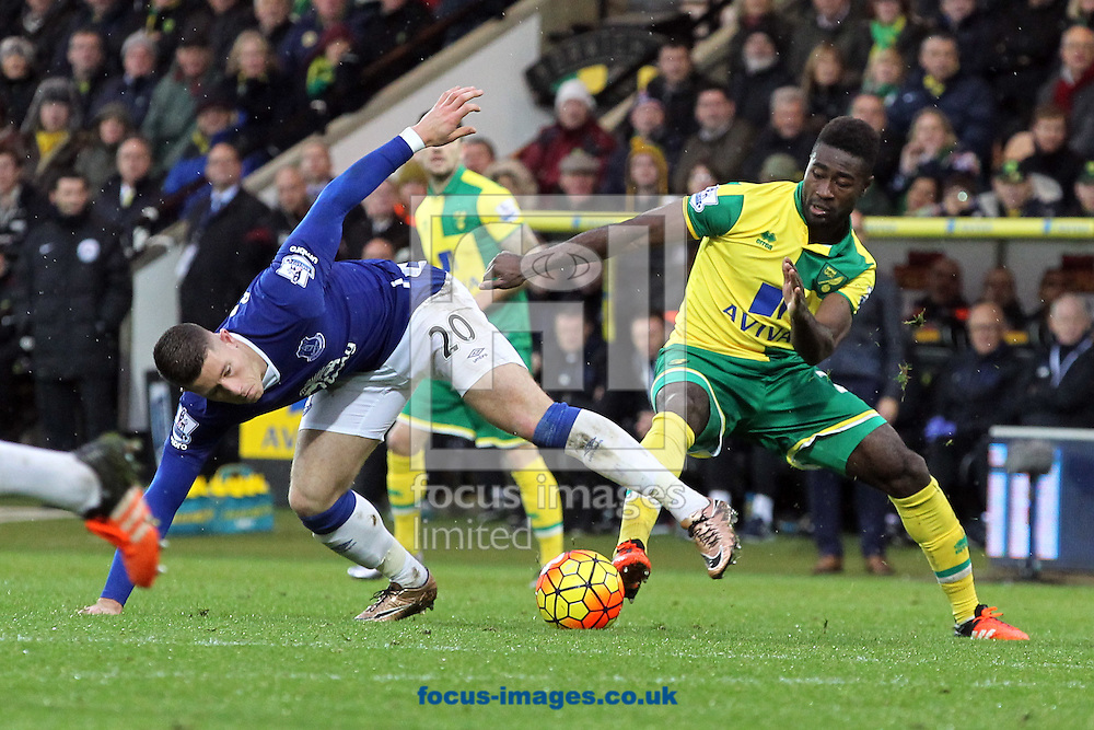 Ross Barkley of Everton and Alexander Tettey of Norwich in action during the Barclays Premier League match at Carrow Road, Norwich<br /> Picture by Paul Chesterton/Focus Images Ltd +44 7904 640267<br /> 12/12/2015