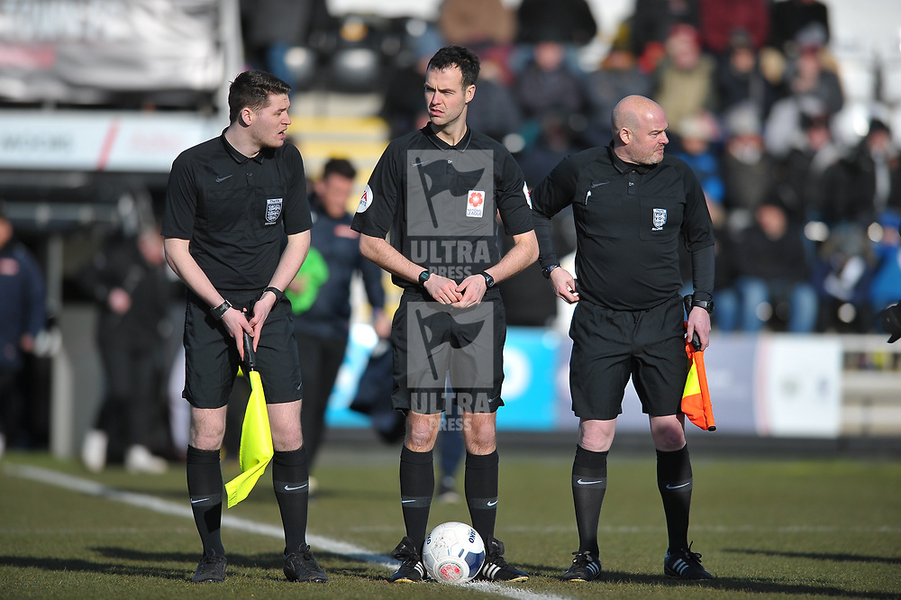 TELFORD COPYRIGHT MIKE SHERIDAN  Referee Peter Shacklady during the Vanarama Conference North fixture between Spennymoor Town and AFC Telford United at Brewery Field, Spennymoor on Saturday, February 29, 2020.<br /> <br /> Picture credit: Mike Sheridan/Ultrapress<br /> <br /> MS201920-048