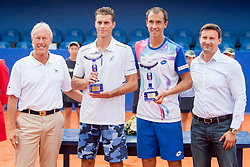 Gerry Armstrong, ATP Supervisor, Frantisek Cermak and Lukas Rosol of Czech Republic and Vanja Bozickovic, tournament director during flower ceremony after final of doubles at 25th Vegeta Croatia Open Umag, on July 27, 2014, in Stella Maris, Umag, Croatia. Photo by Urban Urbanc / Sportida