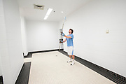 05/25/2014 - Baltimore, Md. - Curt Townshend, A16, warms up in the showers before taking the field in Tufts' 12-9 win over Salisbury to win the NCAA Division III Men's Lacrosse National Championship game at M&T Bank Stadium on May 25, 2014. (Kelvin Ma/Tufts University)