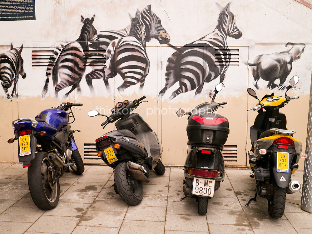 a row of mopeds parked in front of a zebra wall mural, Barcelona, Spain.