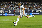 CHICAGO, IL - AUGUST 02: Real Madrid forward Gareth Bale (11) attempts a shot in the second half during a soccer match between the MLS All-Stars and Real Madrid on August 2, 2017, at Soldier Field, in Chicago, IL. The game ended in a 1-1 tie with Real Madrid winning on penalty kicks 4-2. (Photo by Patrick Gorski/Icon Sportswire)