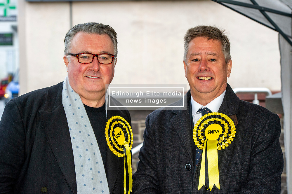 """Pictured: Keith Brown and SNP PPC John Nicholson<br /> <br /> Keith Brown joined SNP candidate for Ochil and South Perthshire, John Nicolson, on the campaign trail in Auchterarder today.    The SNP Depute Leader said that Scottish voters hold """"the key to locking Boris Johnson out of power.""""<br />  <br /> Mr Brown welcomed local activists when they repaired to Cafe Kisa for a welcome warming drink.<br /> <br /> Ger Harley 