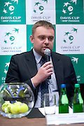 Janusz Samel while official draw at Regent Hotel one day before the BNP Paribas Davis Cup 2014 between Poland and Croatia at Torwar Hall in Warsaw on April 3, 2014.<br /> <br /> Poland, Warsaw, April 3, 2014<br /> <br /> Picture also available in RAW (NEF) or TIFF format on special request.<br /> <br /> For editorial use only. Any commercial or promotional use requires permission.<br /> <br /> Mandatory credit:<br /> Photo by &copy; Adam Nurkiewicz / Mediasport