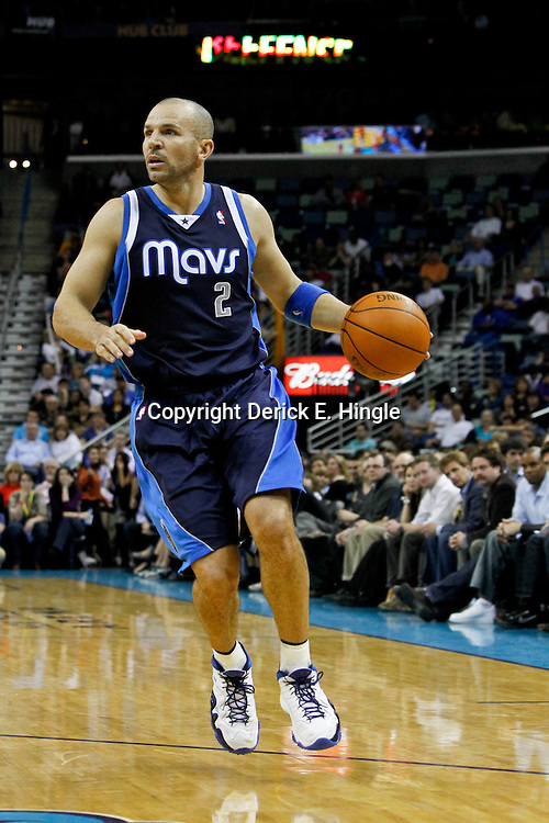 January 21, 2012; New Orleans, LA, USA; Dallas Mavericks point guard Jason Kidd (2) against the New Orleans Hornets during the second half of a game at the New Orleans Arena. The Mavericks defeated the Hornets 83-81.  Mandatory Credit: Derick E. Hingle-US PRESSWIRE