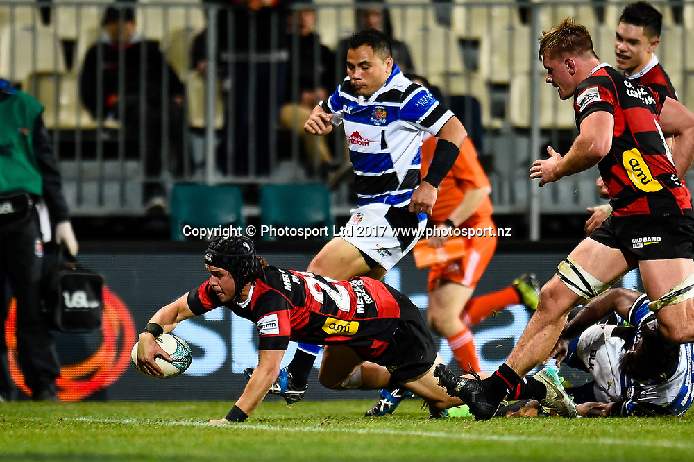 Caleb Makene of Canterbury scores a try during the Ranfurly Shield Rugby Match, Canterbury V Wanganui, AMI Stadium, Christchurch, New Zealand, 10th June 2017.Copyright photo: John Davidson / www.photosport.nz
