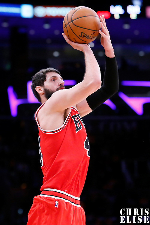 29 January 2015: Chicago Bulls forward Nikola Mirotic (44) takes a jump shot during the Los Angeles Lakers 123-118 2OT victory over the Chicago Bulls, at the Staples Center, Los Angeles, California, USA.