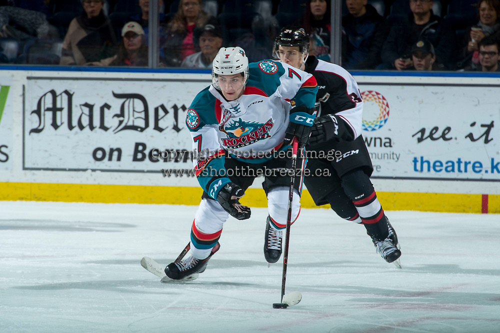 KELOWNA, CANADA - MARCH 7:  Libor Zabransky #7 of the Kelowna Rockets skates from behind the net with the puck against the Vancouver Giants on March 7, 2018 at Prospera Place in Kelowna, British Columbia, Canada.  (Photo by Marissa Baecker/Shoot the Breeze)  *** Local Caption ***