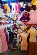 Phnom Penh, Cambodia. Central Market. Festive dresses.
