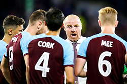 Burnley manager Sean Dyche gives his players a team talk - Mandatory by-line: Robbie Stephenson/JMP - 02/08/2018 - FOOTBALL - Turf Moor - Burnley, England - Burnley v Aberdeen - UEFA Europa League Second Qualifier, 2nd Leg