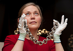 Research Fellow Alice Blackwell with a medieval large silver neck chain, as part of the Silver in Scotland's History exhibition about to go on show at the National Museum of Scotland in Edinburgh.<br /> <br /> &copy; Dave Johnston/ EEm