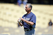 LOS ANGELES, CA - JULY 15:  Bud Black #20 manager of the San Diego Padres throws a pitch during batting practice before the game against the Los Angeles Dodgers on Sunday, July 15, 2012 at Dodger Stadium in Los Angeles, California. The Padres won the game 7-2. (Photo by Paul Spinelli/MLB Photos via Getty Images) *** Local Caption *** Bud Black
