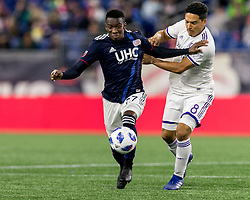 October 13, 2018 - Foxborough, Massachusetts, USA - Foxborough, Massachusetts - October 13, 2018: First half action. In a Major League Soccer (MLS) match, New England Revolution (blue/white) vs Orlando City SC (white), at Gillette Stadium. (Credit Image: © Andrew Katsampes/ISIPhotos via ZUMA Wire)