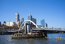 Bar located on Ponyfish Island  on Yarra River beside Southbank footbridge in central Melbourne Australia