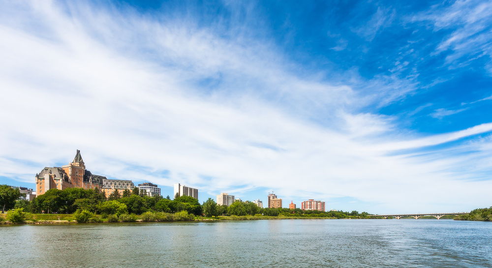 The South Saskatchewan River complements Saskatoon&rsquo;s skyline and <br /> histoic landmarks including the Bessborough Hotel and University <br /> Bridge.