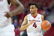 FAYETTEVILLE, AR - NOVEMBER 13:  Jabril Durham #4 of the Arkansas Razorbacks dribbles the ball down the court during a game against the Southern University Jaguars at Bud Walton Arena on November 13, 2015 in Fayetteville, Arkansas.  The Razorbacks defeated the Jaguars 86-68.  (Photo by Wesley Hitt/Getty Images) *** Local Caption *** Jabril Durham