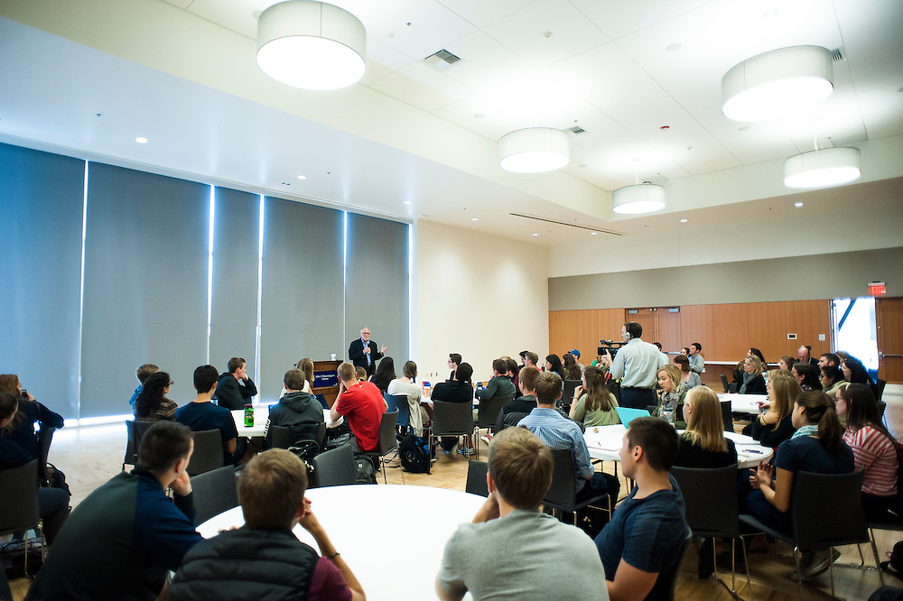 Former Starbucks CEO Howard Behar talks to students over lunch in the John J. Hemminson Center about service leadership in the modern business world.  Mr. Behar was invited to campus by the CLP program in the school of Professional Studies.