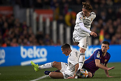 February 6, 2019 - Barcelona, Barcelona, Spain - Luka Modric and Lucas Vazquez of Real Madrid during the Spanish Cup (King's cup), first leg semi-final match between FC Barcelona and  Real Madrid at Camp Nou stadium on February 6, 2019 in Barcelona, Spain. (Credit Image: © Jose Breton/NurPhoto via ZUMA Press)